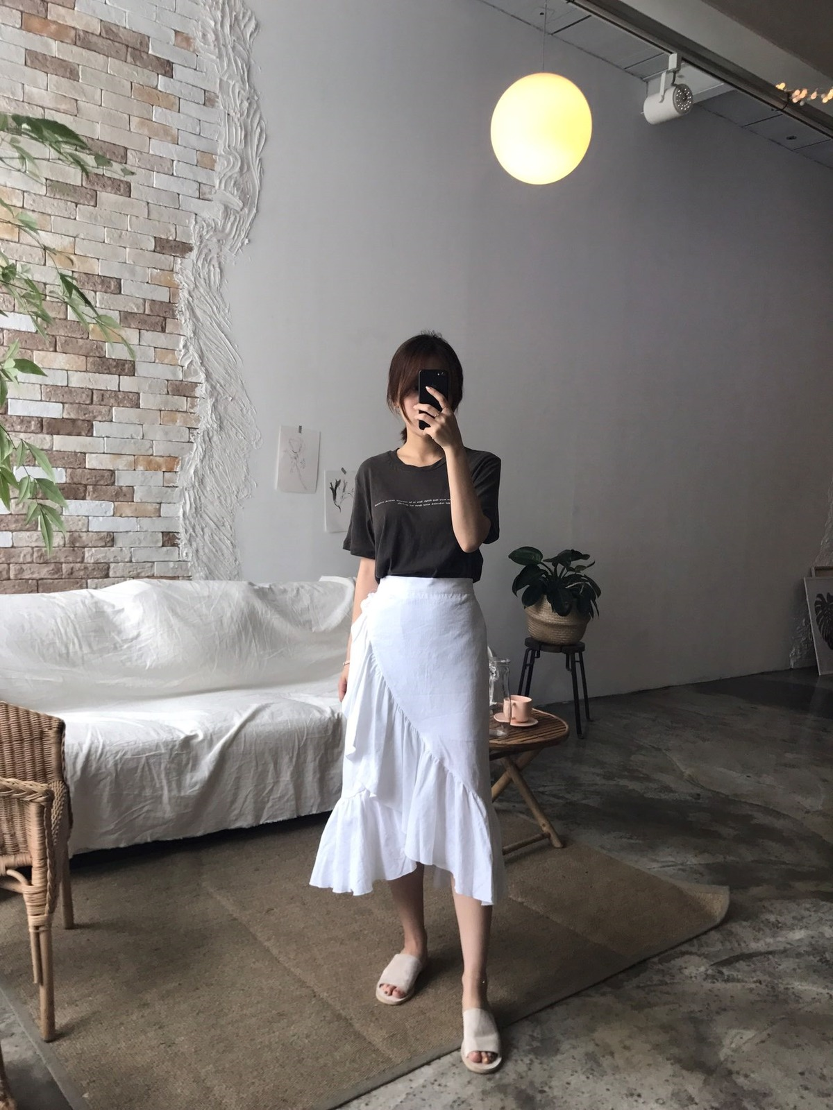 [Shoeming] - ruffle linen sk- Skirts Korean style