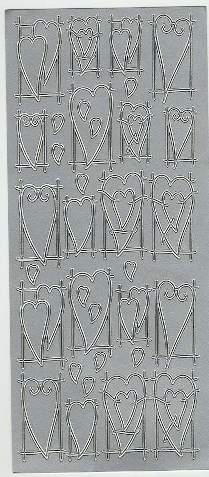 silver hearts theme mixed sheet of peel off stickers  ideal cards, papercraft,