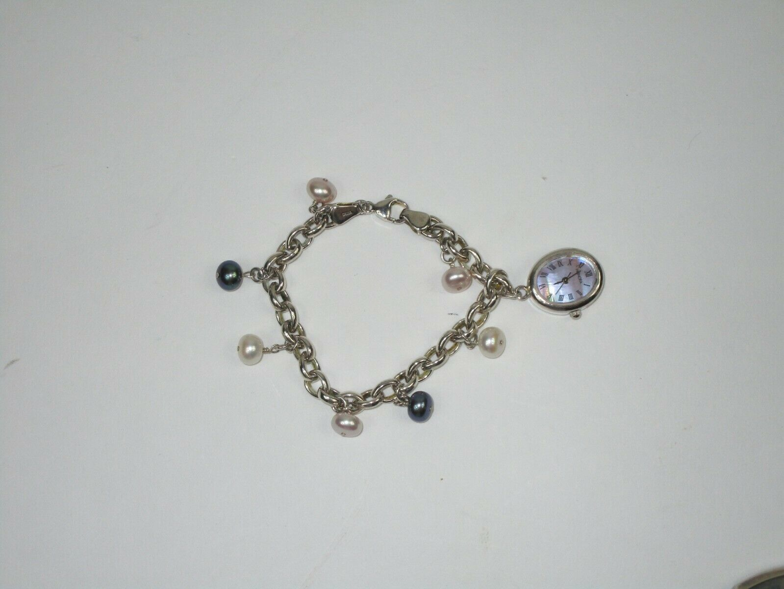 "HONORA STERLING SILVER Cable Chain Pearl Charm Mop Watch Women's BRACELET 7"" image 2"