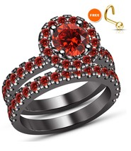 Wedding Engagement Ring Set For Women Red Garnet 925 Sterling Silver Siz... - $104.99