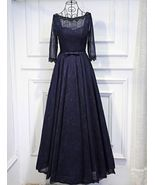 Mother of Bride Elegant Evening Dress Beading Navy Blue Lace - In Stock - $198.00