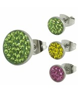 Stainless Steel Earrings With Colored CZ Stones - $17.95