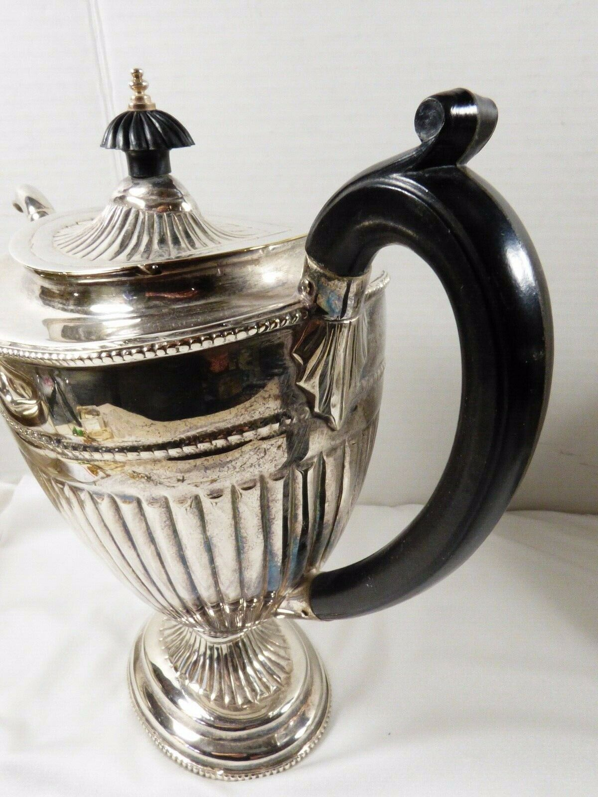 Silver plated ribbed black handle & lid tip coffee pot Art Deco Style