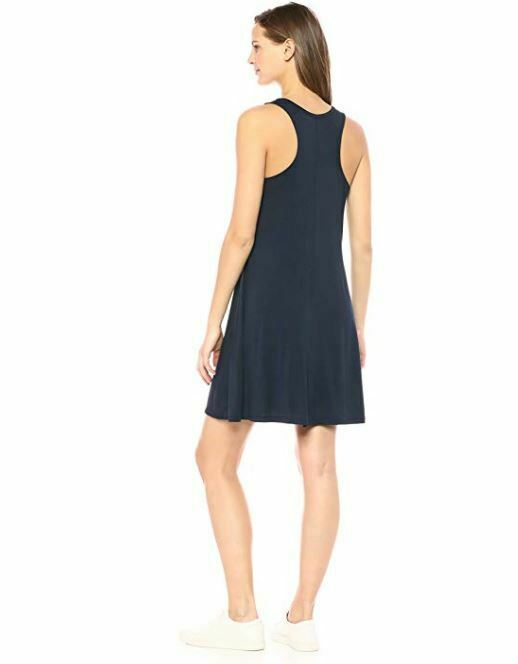 NWT Daily Ritual Women's Jersey Sleeveless Racerback Swing Dress Navy Small