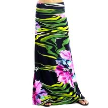 Womens Purple Floral High Waist Slim Fit Long Maxi Skirt S M image 3