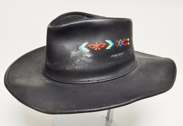 HH HENSCHEL Waxed Leather Hat Cowboy Western Thunderbird Embroidery Black L VTG - $59.95