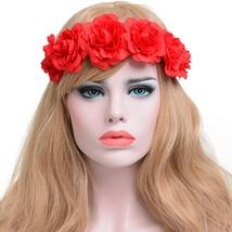 Women Girl Rose Flower Headband For Weddings Party Festivals Crown - $15.98