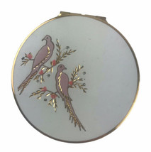 Vintage Stratton White Floral Birds Goldtone Compact Two Mirrors Made In... - $20.42