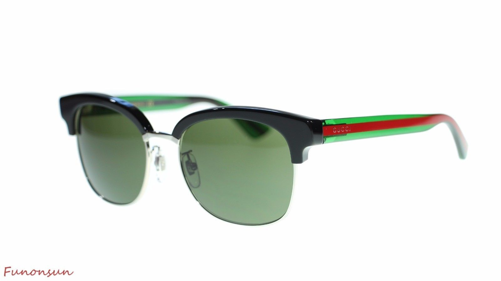 544c9dae5d8 S l1600. S l1600. Previous. Gucci Women Round Sunglasses GG0056S 002 Black  Green Red Green Lens 54mm