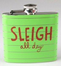 Sleigh All Day Metal Pocket Hip Flask 5 oz Christmas Alcohol Whisky Vodka NEW image 1