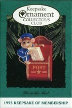 1993 - New in Box - Hallmark Christmas Keepsake Ornament - It's in the Mail - $2.96