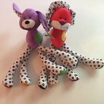 Baby GANZ Plush Red Lion and Purple Dog Lot x 2 Long Leg Lookie Loos Rattle New - $26.95