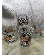 Disney Goofy Glassware - Black Checkers Plus Typhoon Lagoon - Lot of 4, GUC - $19.80