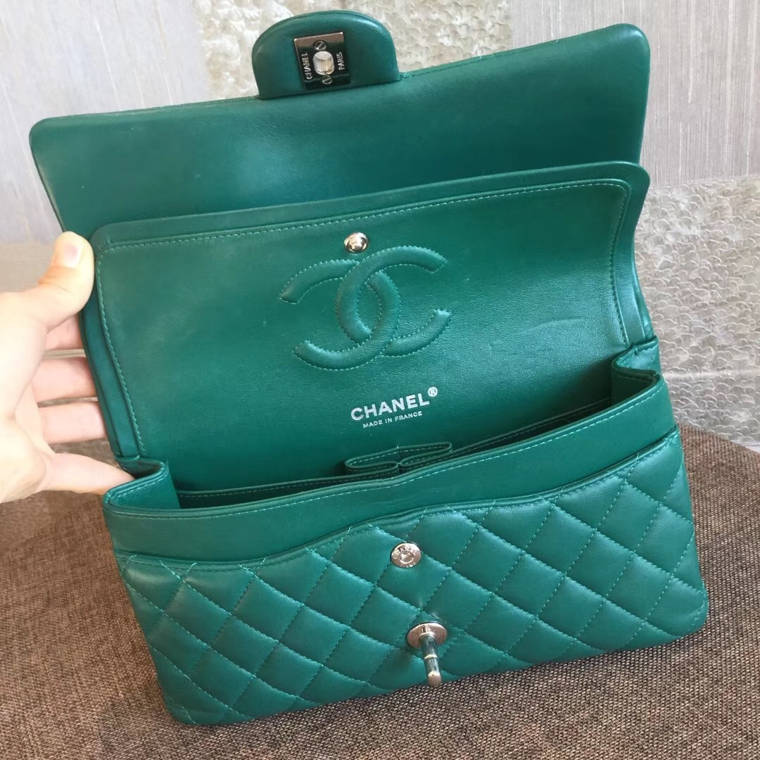 AUTH Chanel 2018 TURQUOISE GREEN LAMBSKIN MEDIUM DOUBLE FLAP BAG SHW