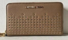 New Michael Kors Hayes Large Flat MF phone case Leather Dark Khaki - $55.00