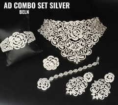 Bollywood Style CZ Bridal Fashion Jewelry Choker Necklace Earring Ring B... - $332.49