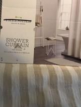 Threshold Tan Woven Stripe Shower Curtain New - $17.99