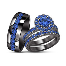 Trio Ring Set For His And Her in 925 Silver Round Blue Sapphire Antique Ring Set - $162.75