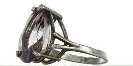 Ladies Size 7.25 Sterling Silver Large Natural Amethyst Fashion Ring No. 2154 image 2