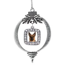 Inspired Silver German Shepherd Face Classic Holiday Ornament - €12,81 EUR