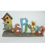 """Spring Plaque Figurine Bird House 11"""" Long Word Spelled Out Lady Bug Whimsical - $19.79"""