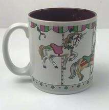 Christmas Carousel Horse Merry Go Round Russ Berrie Coffee Cup Mug 8193 - $7.43