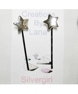 FUN Hand Created OOAK Bobby Pins Silver Color Star Buttons - $5.49