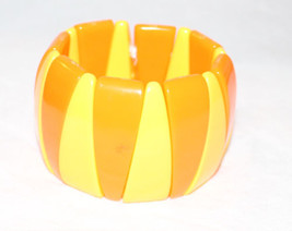 Vintage MCM MOD Bright Orange Yellow Stretch Bracelet Lucite Plastic - $88.11