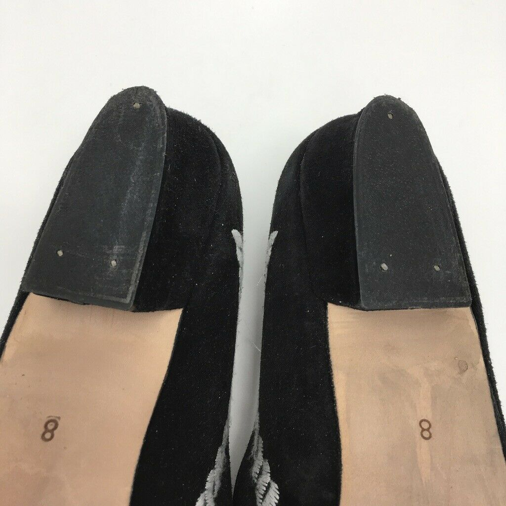Kenneth Cole New York Flats, Size 8, Black with embroidered gray rope motif