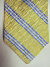NEW Brooks Brothers Yellow With Blue and White Stripe Silk Tie Made USA - $38.99