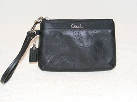 Coach Black Smooth Perforated (C) Leather Wristlet Wallet With Top Zipper Guc - $29.99