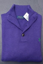 Polo Ralph Lauren Men's 3 Button Mock Neck Purple Cotton Sweater Sweat N... - $55.23