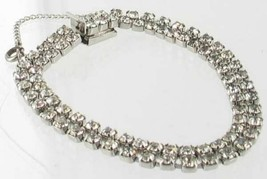 Antique Art Deco Sterling Silver & Paste RS Double Link Row Bracelet Cle... - $44.99
