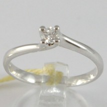 White Gold Ring 750 18k, Solitaire, Rounded Cross, Diamond, CT 0.12 image 1