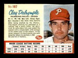 Vintage MLB 1962 Post #197 Clay Dalrymple  EX/EX+  - $4.75