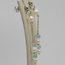 Ohrringe aus Silber 925 Rhodium mit Aquamarin und Perlen Weiß image 1