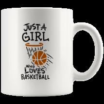 Just a Girl Who Loves Basketball 11oz Ceramic Coffee Mug Gift Orange Text - $19.95