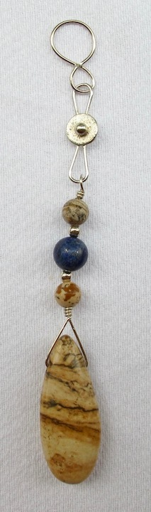 Sterling Silver and Picture Jasper Teardrop Pendant with Lapis/Jasper beads and