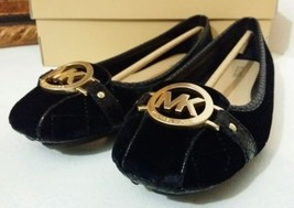 New MICHAEL KORS Fulton Quilted-Velvet Moccasin 8.5M US Women Shoes Black - $77.00