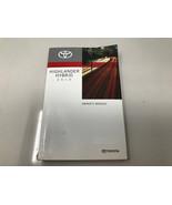 2019 Toyota Highlander Hybrid Owners Manual Handbook OEM Z0J08 - $35.51