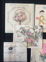 Set of 8 Vintage 30s illustrated Graduation card art (Set B) image 2