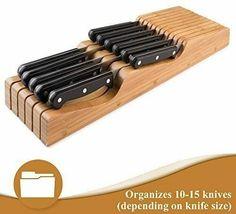 Bambusi In-Drawer Knife Block - 100% Natural Bamboo Knife Storage Organizer image 3