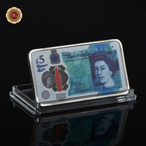 WR Silver Art Bar UK Great Britain 5 Pound Note Clad Bullion New Year Me... - $4.48