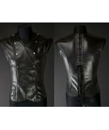 Black Fetish Vest Corset Lace Up Vegan Leather V Shape Goth Male Corset - $105.41