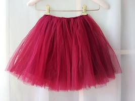 Flower Girl Skirts, Baby Tutu Skirt, Infant Tulle Skirt - Red, Elastic Waist image 6