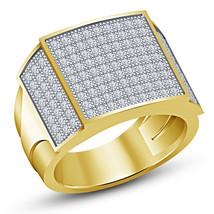 Anniversary Men's Band Ring Round Cut White CZ 18k Yellow Gold Over 925 ... - $139.89