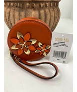 New Michael Kors Coin Purse Orange Leather Flowers Small Round Zip Coin W9 - $88.19