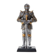 5 Inch Armored Medieval Knight with Large Sword Statue Figurine - $14.85