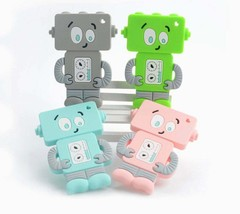 Baby Boos Mr. Roboto Silicone Teether in Blue/Green or Pink - $6.99