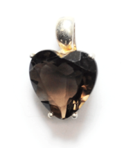 Sterling Smokey Quartz Heart Faceted Cut Out Pendant Canada Enhancer 19 ... - $39.59